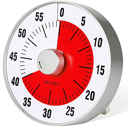 Secura 7.5-Inch Oversize Visual Countdown Timer, 60-Minute Kitchen Timer | Time Management Tool for Kids, Teachers and Adults (Red)