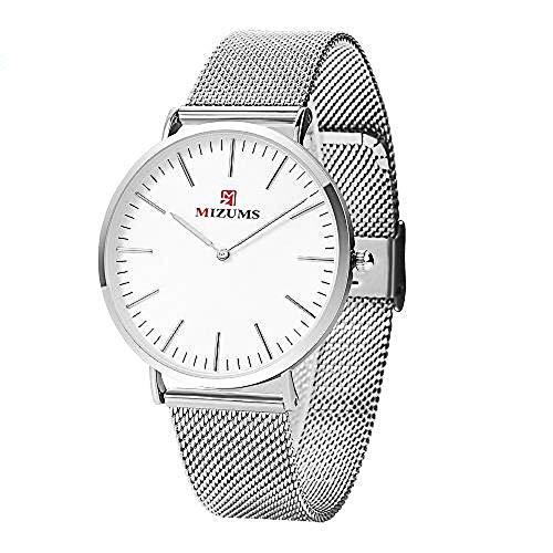 Orologi al quarzo da uomo in acciaio inox ultra sottile orologio da polso da donna orologio sportivo bianco