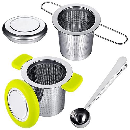 Exanko Infusor de Té con Pala, Asas Dobles para Colgar en Teteras, Tazas, Tazas para Preparar Té de Hojas Sueltas y Café