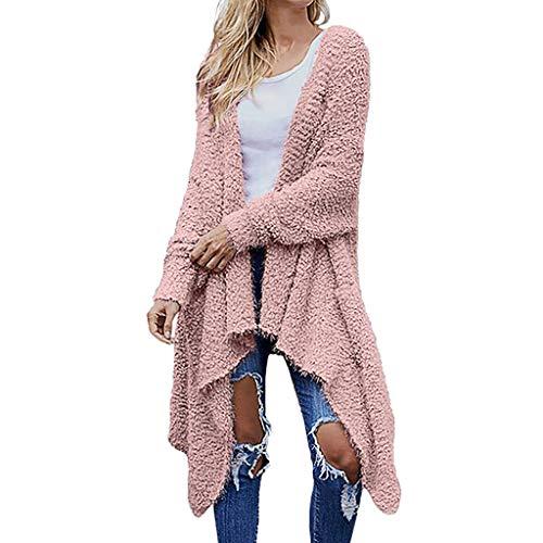 PPangUDing Strickjacke Sweater Damen Vintage Einfarbig Lange Ärmel Lässig Teddy-Fleece Gefüttert Unregelmäßiger Trenchcoat Tops Outdoor Casual Wild Warm Herbst Winter Sweatshirt Knitted Outwear