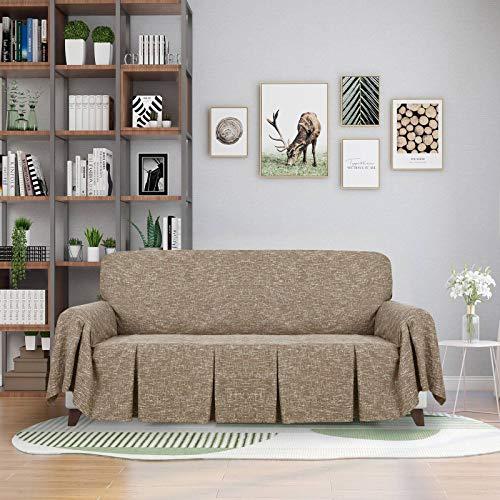 HUANXA Lino Funda De Sofá, Espesar Funda para Sofá Exclusivo Decoración Funda Cubre Sofá para Mascota Niño Protector De Sofá Protector De Muebles-marrón- 1 plazas