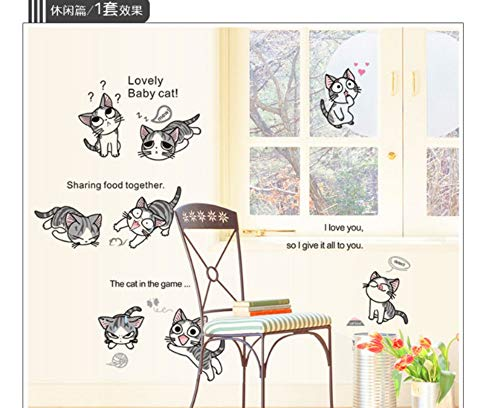 Nieuwe kaas kat muursticker PVC schattig Kitty Play levende kinderkamer achtergrond sticker aan de muur DIY Home Decor sticker