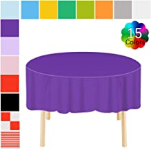 Disposable Tablecloth 6 Pack Premium Plastic Round Table Covers Heavy Duty Table Skirts 83 in. x 83 in. for Indoor or Outdoor Parties Birthdays Weddings Christmas Dark Purple