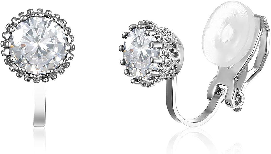 XGALBLA 6MM Cubic Zirconia CZ Crystal Round Sparkling Clip On Stud Earrings Non Pierced For Women Girls