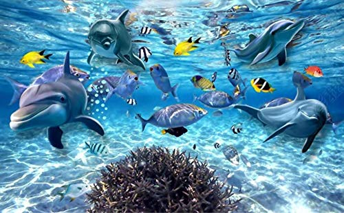 Wallpaper 3D Wall Murals Underwater World Ocean Dolphin Wallpaper Wall Mural Living Room Bedroom Tv Background Wall Mural Decoration Art 300cmx210cm