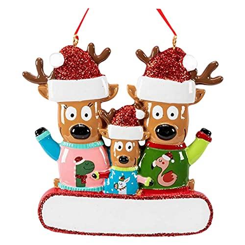 harayaa Personalizzato Renna Albero di Natale Ornamenti Albero genealogico Decorazioni per Le Vacanze Ciondolo Famiglia Cervi alci Natale 2-5 Mumbers Regalo - Tre Renne
