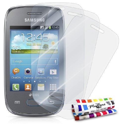 Muzzano - Set di 3 pellicole protettive per display ultra trasparenti, per cellulare/tablet SAMSUNG GALAXY POCKET NEO trasparente