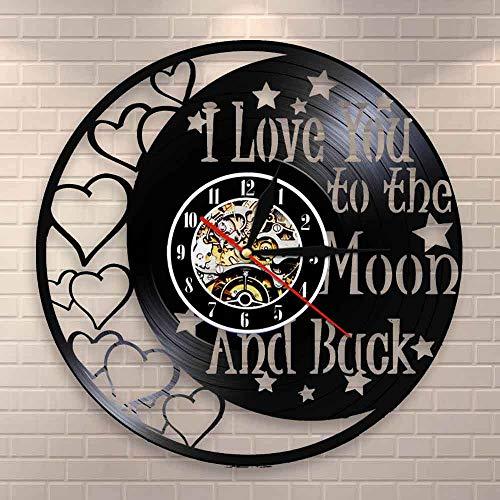 wtnhz LED-Te Amo hasta la Luna y de Regreso Citas de Amor Disco de Vinilo Vintage Reloj de Pared Amor romántico día de San valentín decoración del hogar Reloj Pareja Regalos