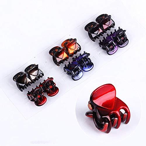 Rmeet Pinzas para Cabello Mini,24 Pack Pequeñas Garra de Pelo Clip de Agarre de Plástico Horquilla Antideslizante Mini Sujetadores para Cabello para Niñas Mujeres 1.5 CM