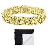 Thick 15mm 14k Gold Plated Chunky Nugget Textured Link Bracelet, 7'