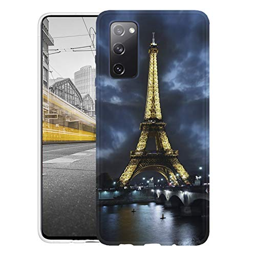 KX-Mobile Hülle für Samsung S20 FE Handyhülle Motiv 394 Eifelturm Paris Frankreich bei Nacht Blau Gelb Premium Silikonhülle SchutzHülle Softcase HandyCover Handyhülle für Samsung Galaxy S20 FE Hülle