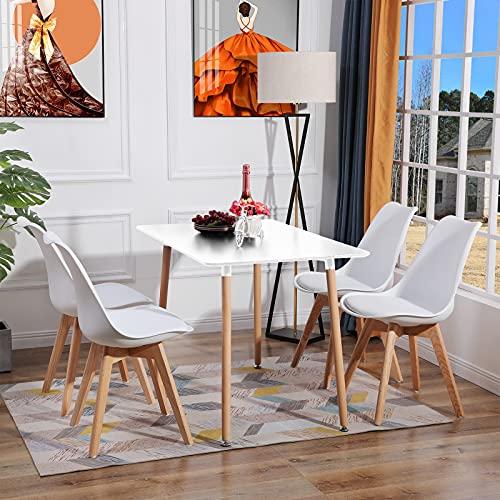 H.J WeDoo Esstisch Küchentisch Set, Rechteckig Esstisch mit 4 Eiche Esszimmerstühle Geeignet für Esszimmer Küche Wohnzimmer, Weiß Esstisch und Stühle