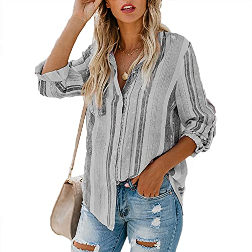 XYJD Spring and Summer Women's Casual Striped Shirt V-Neck Single-Breasted Long-Sleeved Loose Cardigan Shirt Shirt T-Shirt Women Grey