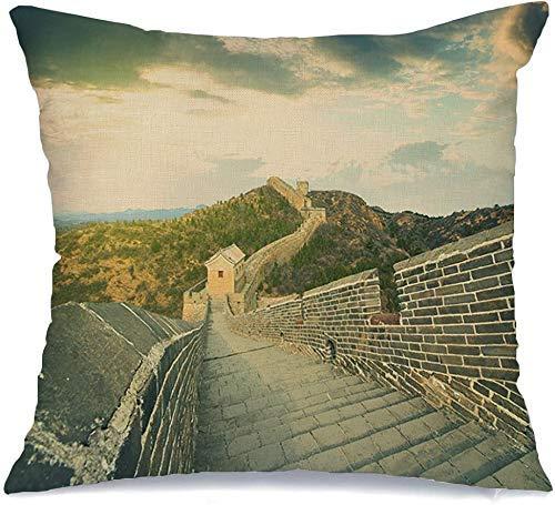 Throw Pillow Cover Blue Majestic Great Defense Sky Wall China Hill, decoración del hogar, Fundas de Almohada, Fundas de Cojines, Funda de Almohada para sofá, Cama, Coche de 18 'x18'