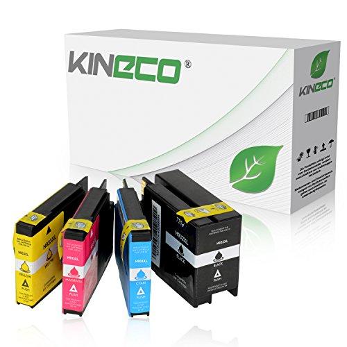4 Kineco Tintenpatronen kompatibel zu HP 932XL 933XL OfficeJet 6100 e-Printer 6600 e-All-in-One 6700 Premium 7110 7610 Wide Format - CN053AE CN054AE CN055AE CN056AE - Schwarz 50ml, Color je 18ml