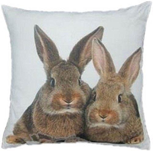 Mars & More - Kissen, Kissenhülle, Kisseninlet - Zwei Kaninchen, Hasen - 100 % Baumwolle - 50 x 50 cm - inkl. Füllung