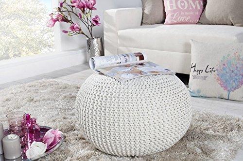 DuNord Design Hocker Sitzkissen Strickhocker Pouf Burley 50cm weiß Strick Beistelltisch Ablage
