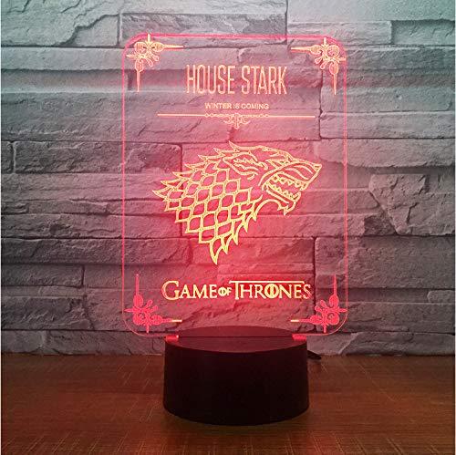Juego de tronos acrílico lobo lámpara led 7 cambio de color de acrílico 3d decoración del hogar para niños vacaciones cumpleaños aniversario regalo
