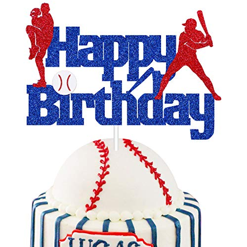 Glitter Blue Baseball Happy Birthday Cake Topper, Sports Themed Baseball Player Birthday Party Decorations Supplies For Kids Boys Men,Play Baseball Birthday Cake Decor (Blue)