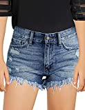luvamia Girls Denim Shorts Frayed Raw Hem Ripped Denim Jean Shorts 4-13 Years Light Blue Size Large (8-9 Years)