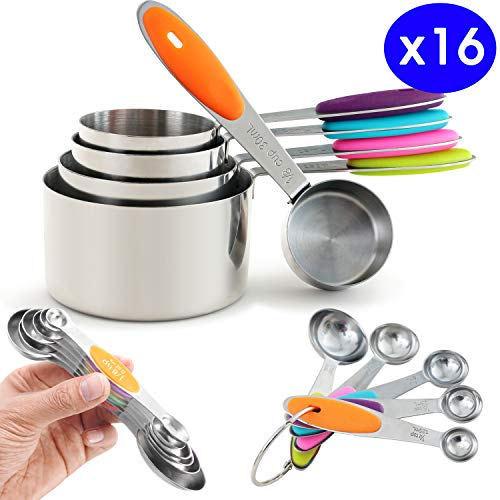 Prodigen Stainless Steel Measuring Cups & Measuring Spoons Set Metal Liquid And Dry Tablespoon Measuring Cups Kitchen Magnetic Measuring Spoons for Baking,Cooking for Food (Cups&Spoons-13Pieces)