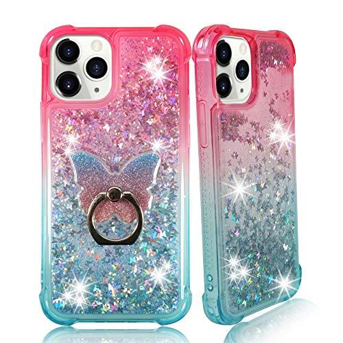 ZASE Transparente Max und 12 Pro 5G (6,1 Zoll) 2020 Flüssigkeitsglitzer Bling Cute Frauen Mädchen Cover 3D Floating Schmetterlinge Treibsand Stoßfest mit Phone Ring (Gradient Pink Aqua)