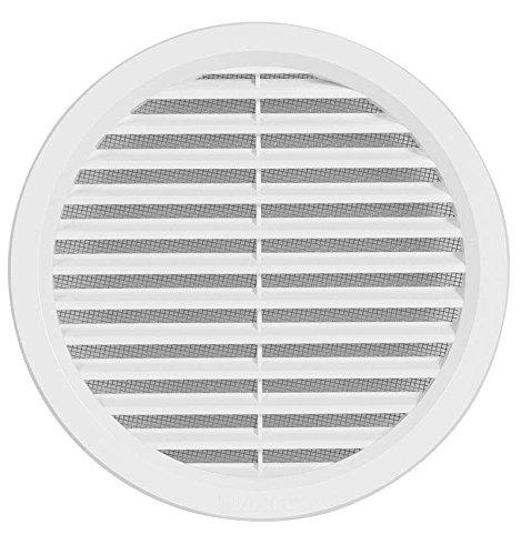 VM100 Rejilla de ventilación de plástico, redonda, con conector de brida/tubo y protección antinsectos, dimensiones: 160 mm (VM140)