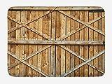 Aliyz Moderne Badezimmer Wohnkultur rutschfeste Badematte Fußmatte Antik mit Holz und Holzbohlen traditionelle Holz Holztür Bauernhaus Antik Foto 40x60cm Flanellmaterial