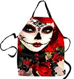 SSOIU Dia De Cooking Apron, Dia De Los Muertos Suger Skull Kitchen Apron for Baking/BBQ Men Women Unisex Waterproof 31X27 Inches