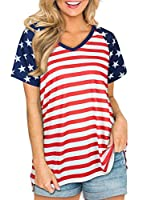 4th Fourth of July Patriotic USA American Flag Shirts for Women V Neck Short Sleeve Casual Independence Day Tops from