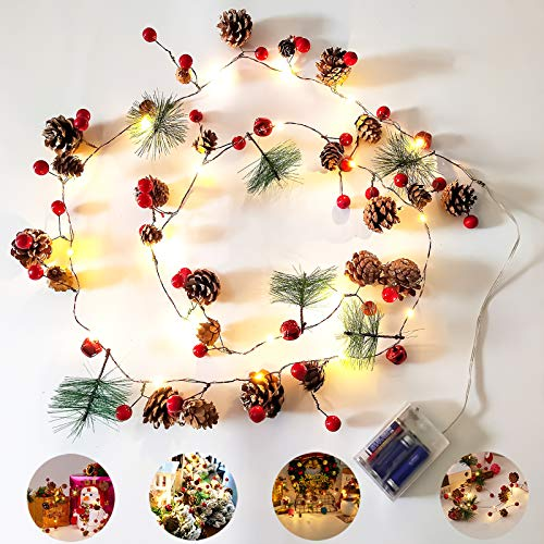 McNory Luces navideñas con cono de pino Campana de bayas rojas, guirnalda...
