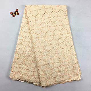 Laliva Polish lace Polish Swiss lace for Men Voile Suisse Cotton Nigerian lace Fabrics 2062 5yards 100% Cotton African Embroidery Lace - (Color: Peach Cream)