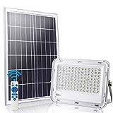 LEDMO LED Luz Solar Exterior 100W con Control Remoto 8M focos led exterior solares 6000K IP65 Impermeable Encendido/Apagado Inteligente 100 Leds El área iluminada es de aproximadamente 150 m²