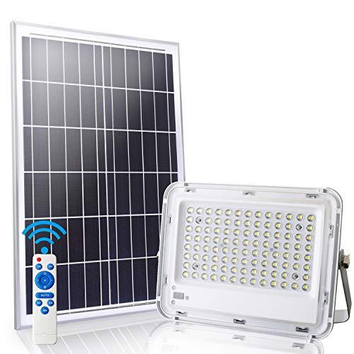 LEDMO LED Luz Solar Exterior 100W con Control Remoto 8M focos led exterior solares 6000K IP65 Impermeable 100 Leds.