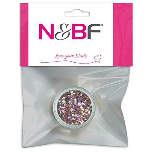 N&BF Nailart Illusion Glitter | Rose Rosa Pink| Nageldesign für Gelnägel | Glitzerstreu Mischung | Glitterpuder | Made in Europe | funkelnder Glamour-Effekt |fein & schimmernd
