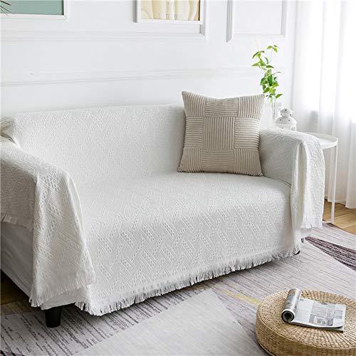Manta multifuncional en forma de T para sofá de 2 plazas, para cama, sofá, sillas, sofá, sofá, 180 x 230 cm, color blanco