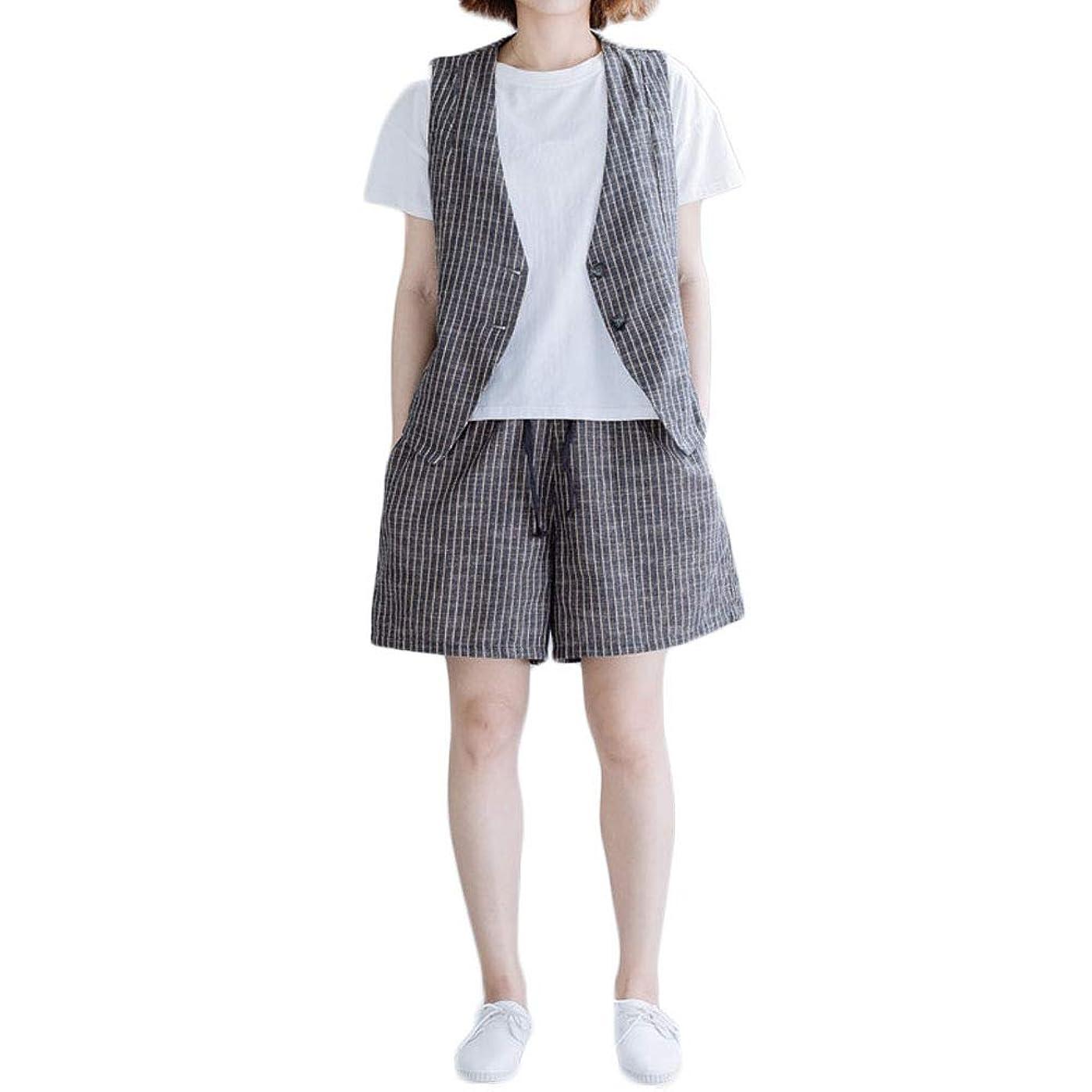 コックマリナー牛肉Tokuonn パンツスーツ セットアップ レディース ベスト ショートパンツ 上下2点セット ストライプ柄 ゆったり 通勤OL おしゃれ 大きいサイズ