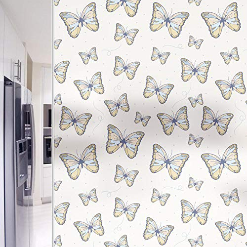 Vinilos para Ventanas de 3D Efecto 44.5X200Cm Anti-UV Película para Ventanas,Pegatinas para Ventanas con Sin Pegamento Electrostatica para Familia y Oficina - Mariposa Blanco Mate