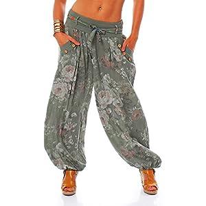 Moda Italy Pantalón tipo bombacho/harem para mujer, pantalón de verano con cinturón de tela y estampado floral Armee… | DeHippies.com
