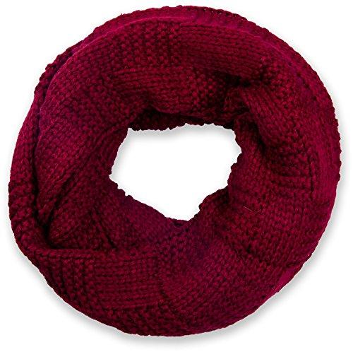 styleBREAKER Strick Loop Schal mit Patentmuster, Uni Feinstrick Schlauchschal, Winter Strickschal, Unisex 01018152, Farbe:Bordeaux-Rot