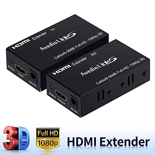 196ft/60m HDMI Extender, avedio links HDMI Extender Over Cat 5e/6/7, Digital HDMI Ethernet Extender Adapter Support Full HD 1080P 3D, EDID Copy, Deep Color, Compatible with Fire Stick, Roku, Blue-ray