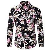 Chemises Homme Casual à Manches Longues Imprimé Fleur Vintage Slim Fit Noir à Col Debout Veste Léger Printemps-été