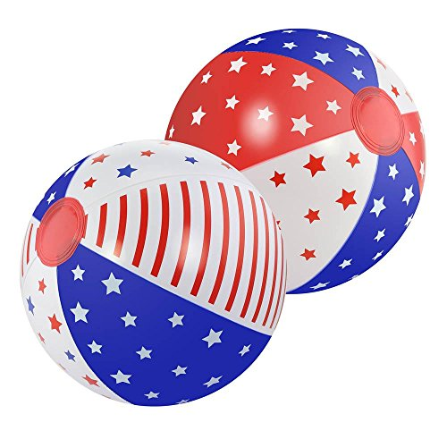 Smart Living Company Fine Life Products Patriotic American Flag Themed Inflatable Beach Ball Set, 2 Count