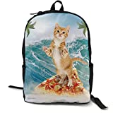zhengchunleiX Sports Book Bags,Casual Rucksack,Travel Daypacks,Cat Surfing On Pizza Ocean Palm Tree Unique Mochila Durable Oxford Outdoor College Students Busines Laptop Computer Shoulder Bags