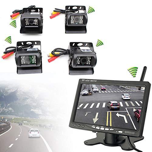 4 x Funk Kabellos Auto LKW Rückfahrkamera Kabellos Nachtsicht Kamera + 7