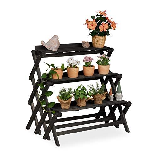 Relaxdays Blumentreppe, innen & außen, 3 Ebenen, klappbar, freistehend, Pflanzentreppe, Holz, 85,5 x 90 x 55 cm, schwarz, 1 Stück