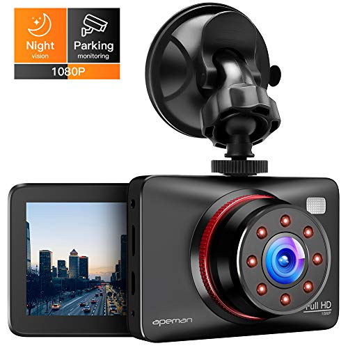 APEMAN Dashcam Full HD Autokamera 1080P DVR mit 170° Weitwinkelobjektiv, Infrarot-Funktion, GPS,...