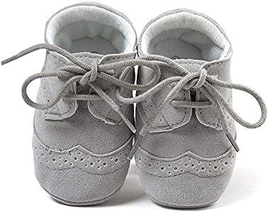 Matt Keely Bebé Niños niñas Suela Blanda Zapatos Bebe niña Infantil Zapatos con Cordones, Color Gris, Talla 3-6 Meses