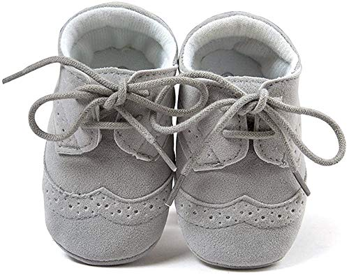 Matt Keely Bebé Niños niñas Suela Blanda Zapatos Bebe niña Infantil Zapatos con Cordones Gris 6-12 Meses