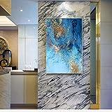 KWzEQ Peinture décorative Moderne Simple Abstrait mer Bleue et Sable doré Nordique Murale Salon Toile Peinture,Peinture sans Cadre,45x67cm